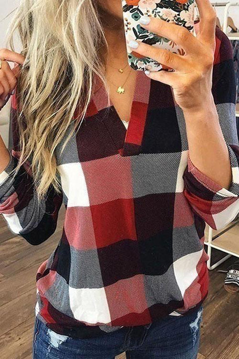 Kyledress Tetris Plaid V neck Shirt