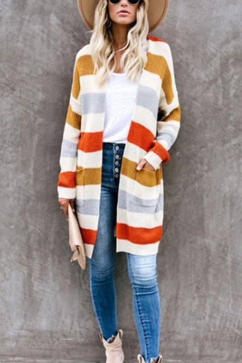 Kyledress Colorful Striped Sweaters Cardigan