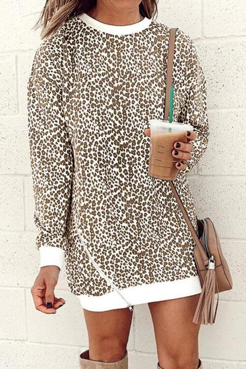 Kyledress Bertha Leopard Loose Mini Dress