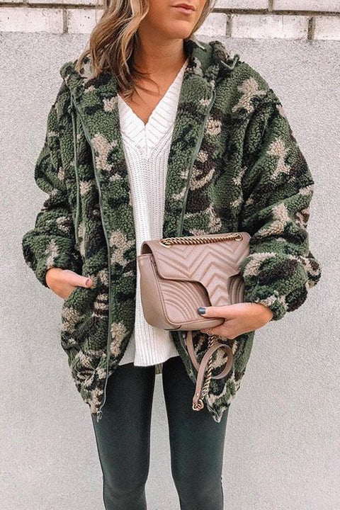 Kyledress Chic Fluffy Camo Pockets  Coats