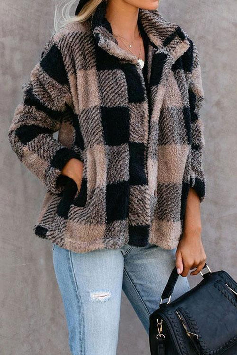 Kyledress Chic Fluffy Plaid Pockets  Coats