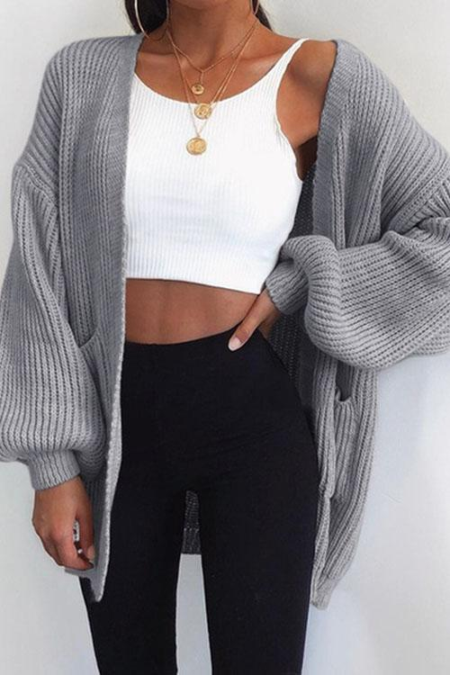 Kyledress Plain Loose Sweater Cardigan