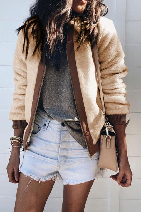 Kyledress Zip Lapels Winter Velvet Cardigan Coat