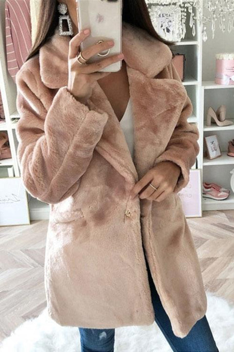 Kyledress  Plain Loose Plush Coat Jacket