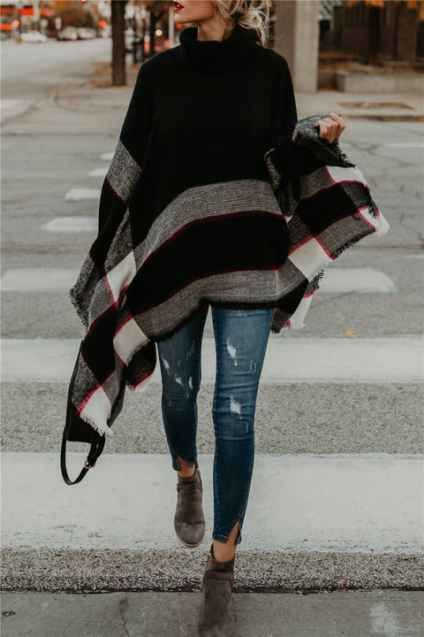 Kyledress  High Collar Batwing Poncho Sweaters