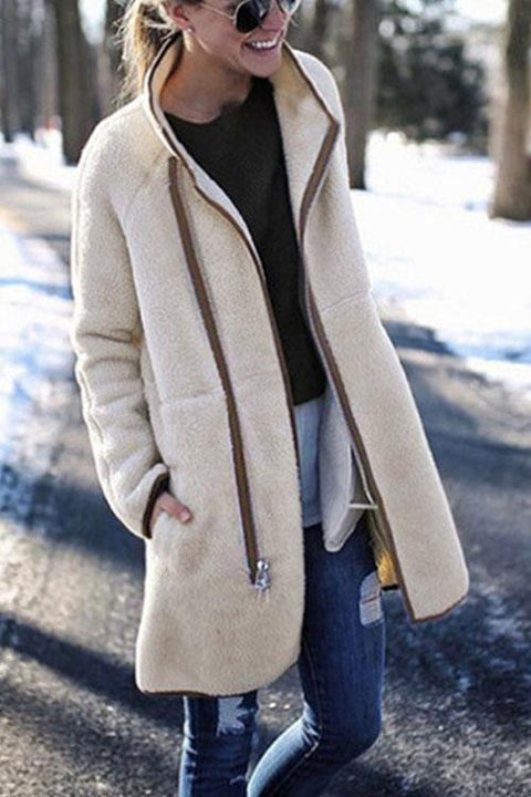 Kyledress Fashion Stand Collar Zip Button Coat
