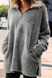 Kyledress Zip Turtleneck Pockets Plush Sweater Hoodie