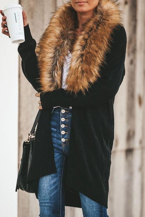 Kyledress Fur Collar Long Sleeve Mid-Length Cardigan
