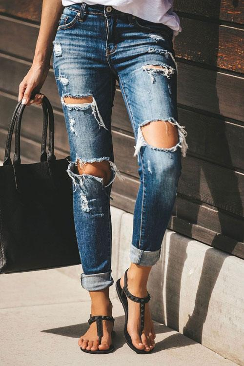 Kyledress In Style Ripped Denim Jeans