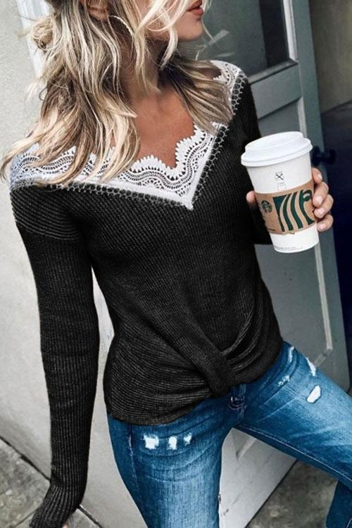 Kyledress New Lace V-Neck Long sleeve T-shirt