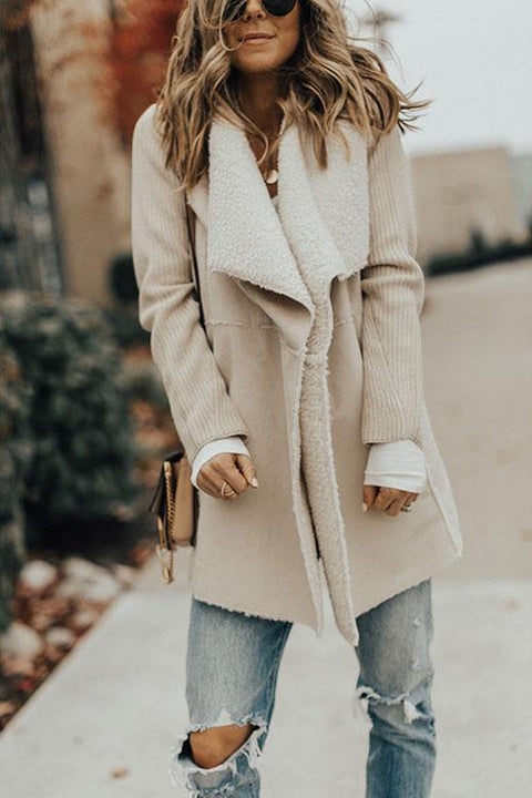 Kyledress Comfy Plush Wool Splicing Fashion Coat