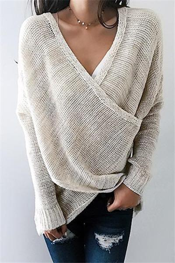 Kyledress Simple V Neck Front Cross Weekend Sweater Top
