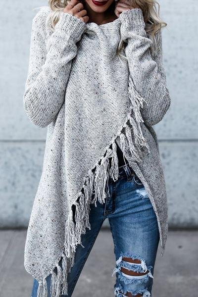 Kyledress Cowl Neck Tassel Irregular Sweater