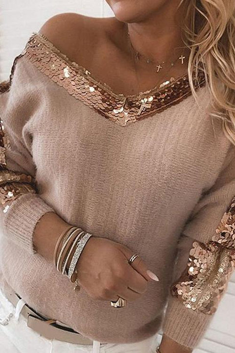 Kyledress Sequin Edge Casual Loose Sweater Top