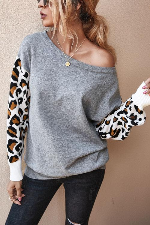 Kyledress Leopard Sleeve Casual Loose Sweater Top