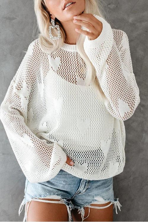 Kyledress Love Hollow Knitting Perspective Sweater