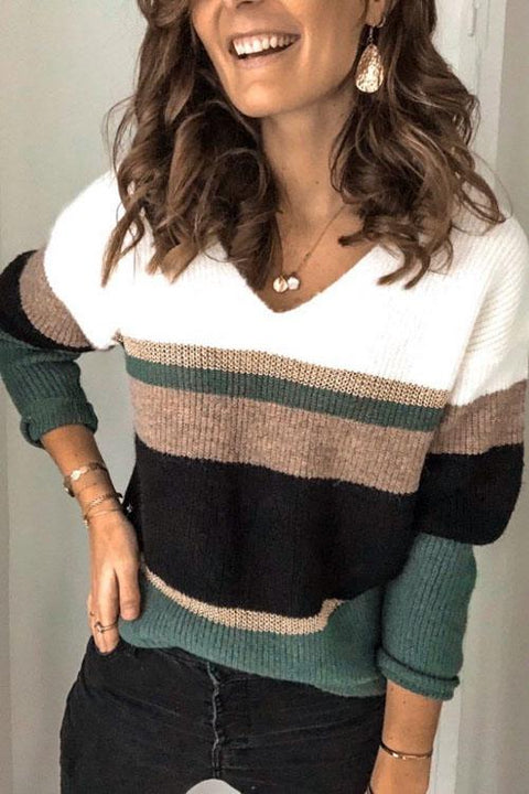 Kyledress Day To Day Striped Knitting Sweaters
