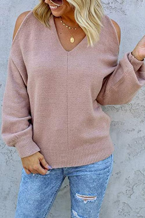 Kyledress Lamar Solid Off The Shoulder Sweaters