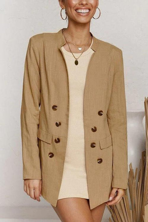 Kyledress Solid Double Breasted Lapel Blazer Top