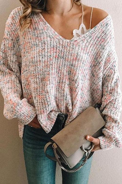 Kyledress Decor Blend Casual Loose Sweater Top