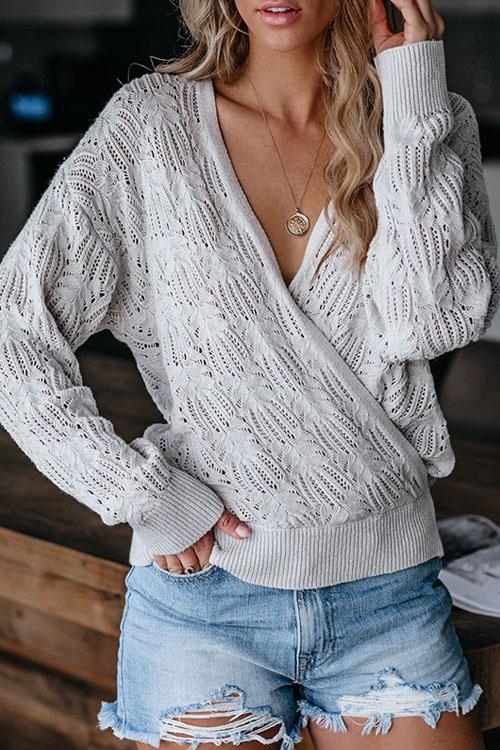 Kyledress Cross Casual Hollow Out Knitted Sweaters