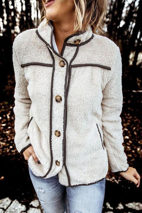 Kyledress Plush Fashion Stand Collar Button Coat