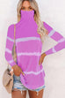 Kyledress Tie Dye Striped High Collar Mask Blouse Top