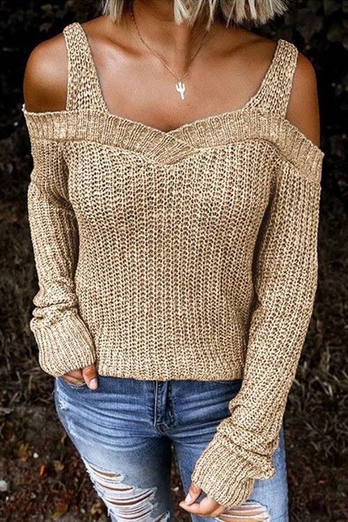 Kyledress Sexy Strap Off The Shoulder Sweaters