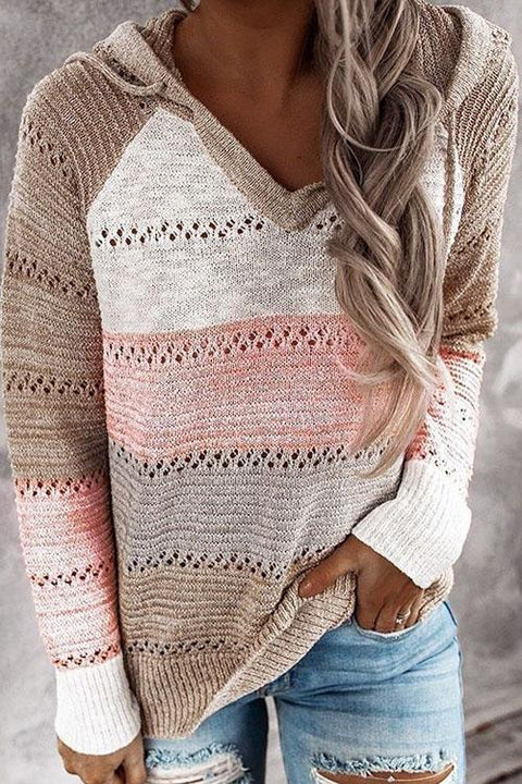 Kyledress Hollow Out Stripe Casual Loose Sweater
