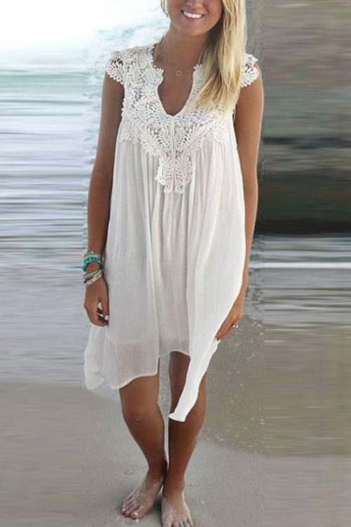 Kyledress Seabeach Lace Casual Loose Dress