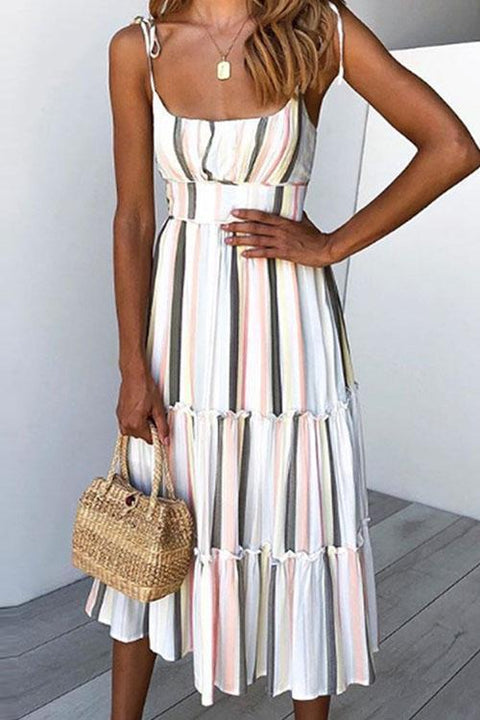 Kyledress Striped Girdle Midi Dress