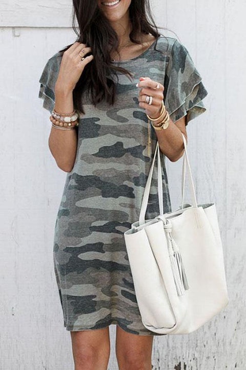 Kyledress Bubble Sleeves Camo T-shirt Dress