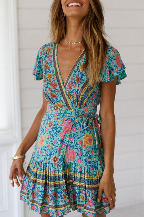 Kyledress V-neck Bohemian Printing Mini Dress