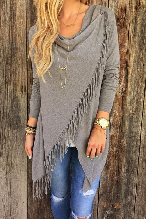 Kyledress Asymmetrical Tassel Design Cardigan