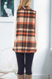 Kyledress Sleeveless Hem Jacket Pockets Plaid Vest