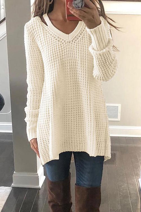 Kyledress Casual Long Sleeves Hollowed-out Sweaters