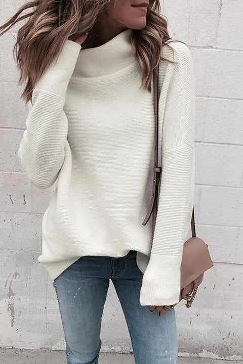 Kyledress Pure Turtleneck White Ribbed Top