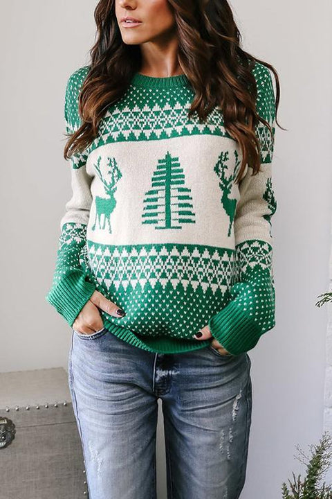 Kyledress  Christmas Elk Printed Sweater