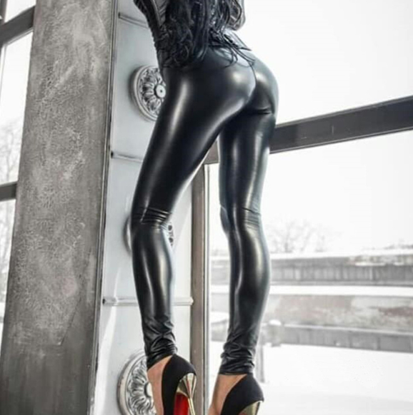 Reflective sexy hip leather pants elastic high waist leggings