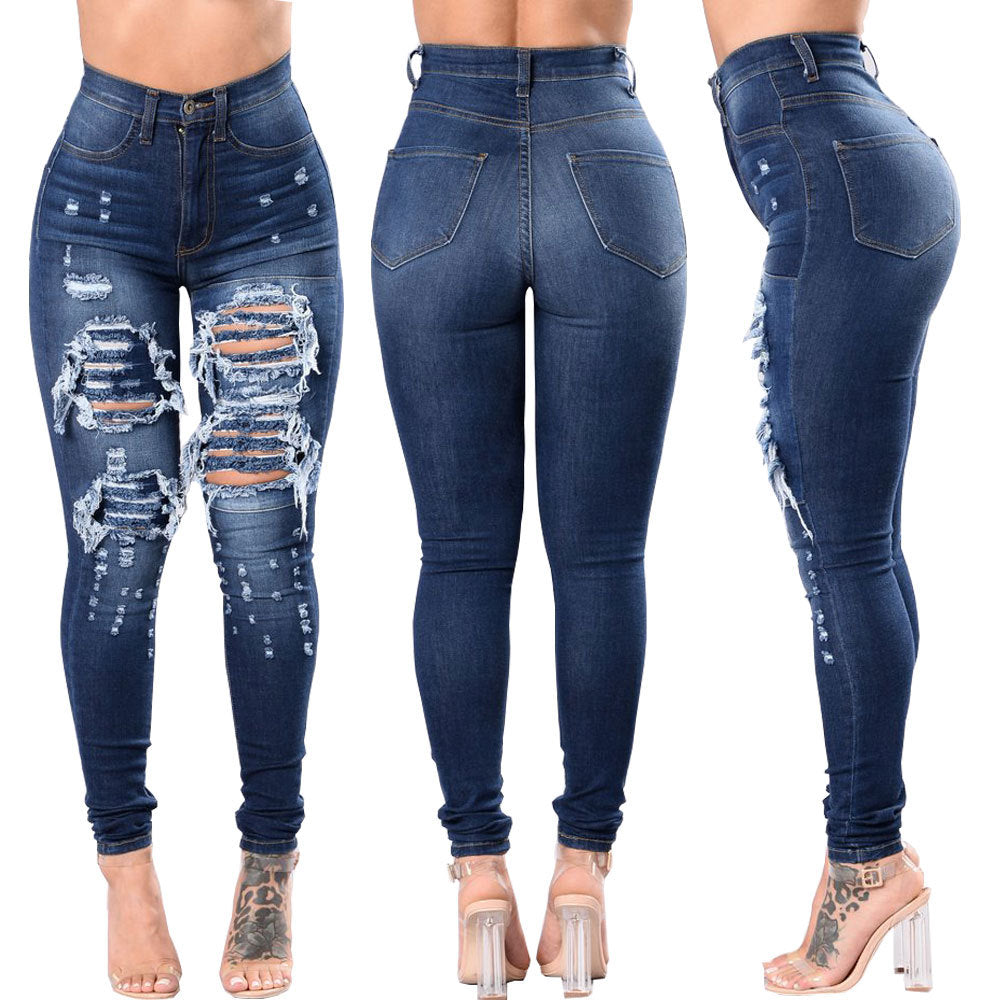 Women's ripped jeans pants
