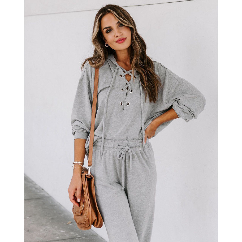 Women Lace-up Long Sleeve Hoodies Sweatshirt and Long Pants Two-piece