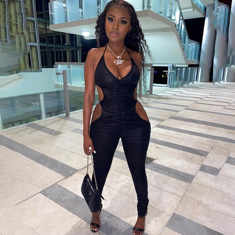 Black Body Romper  Jumpsuit with Deep V Neck Backless  Bodycon