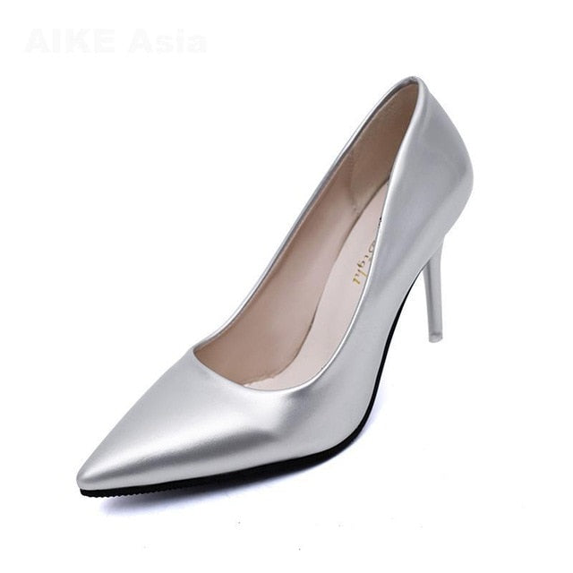 Women Pointed Toe Patent Leather Heels