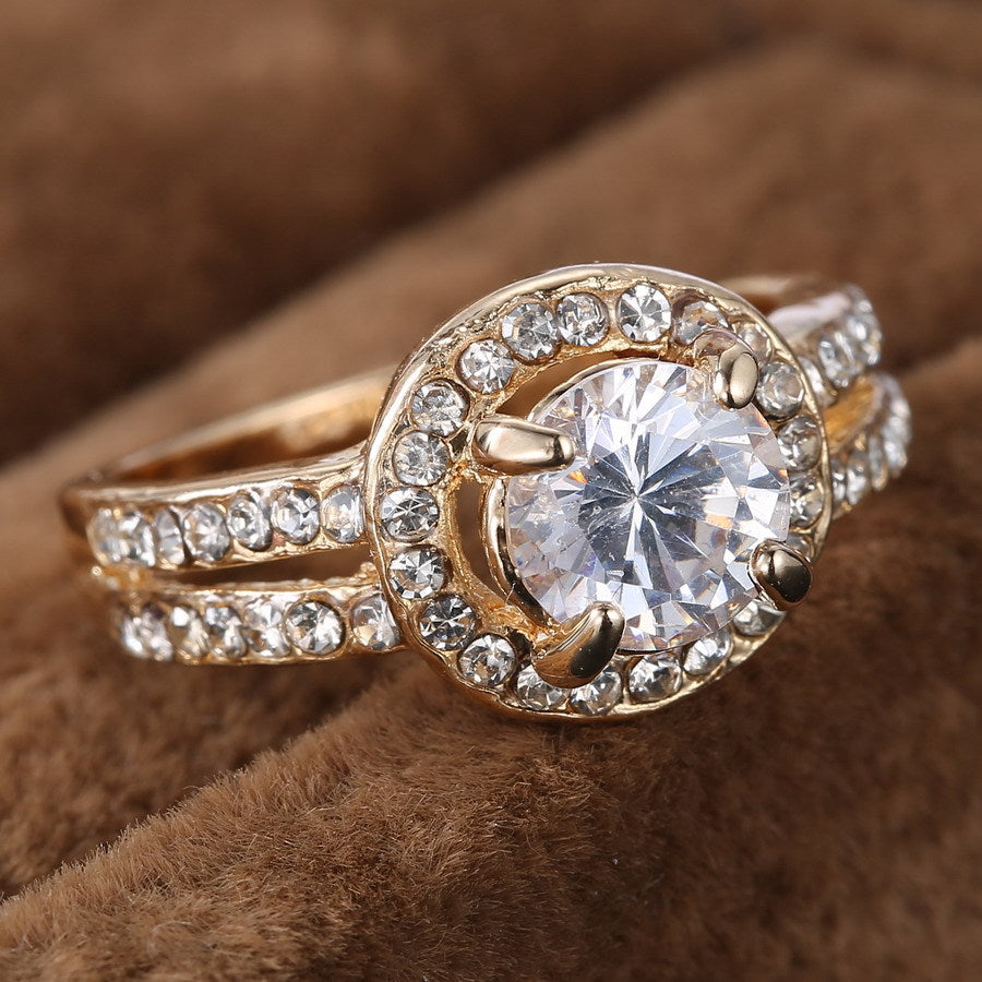 Women Gold Ring for Bride Crystal Ring