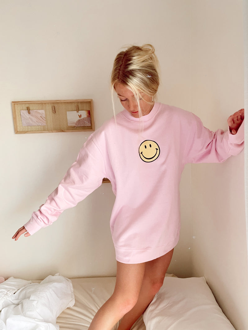 Embroider Smiley Face Sweatshirt