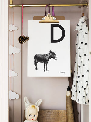 ANIMAL LETTER Z, ZEBRA, Z DOWNLOADABLE PRINT