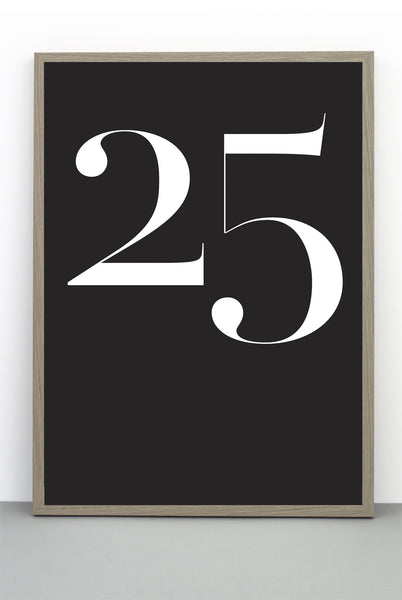 NUMBER 25 CHRISTMAS DAY PRINT