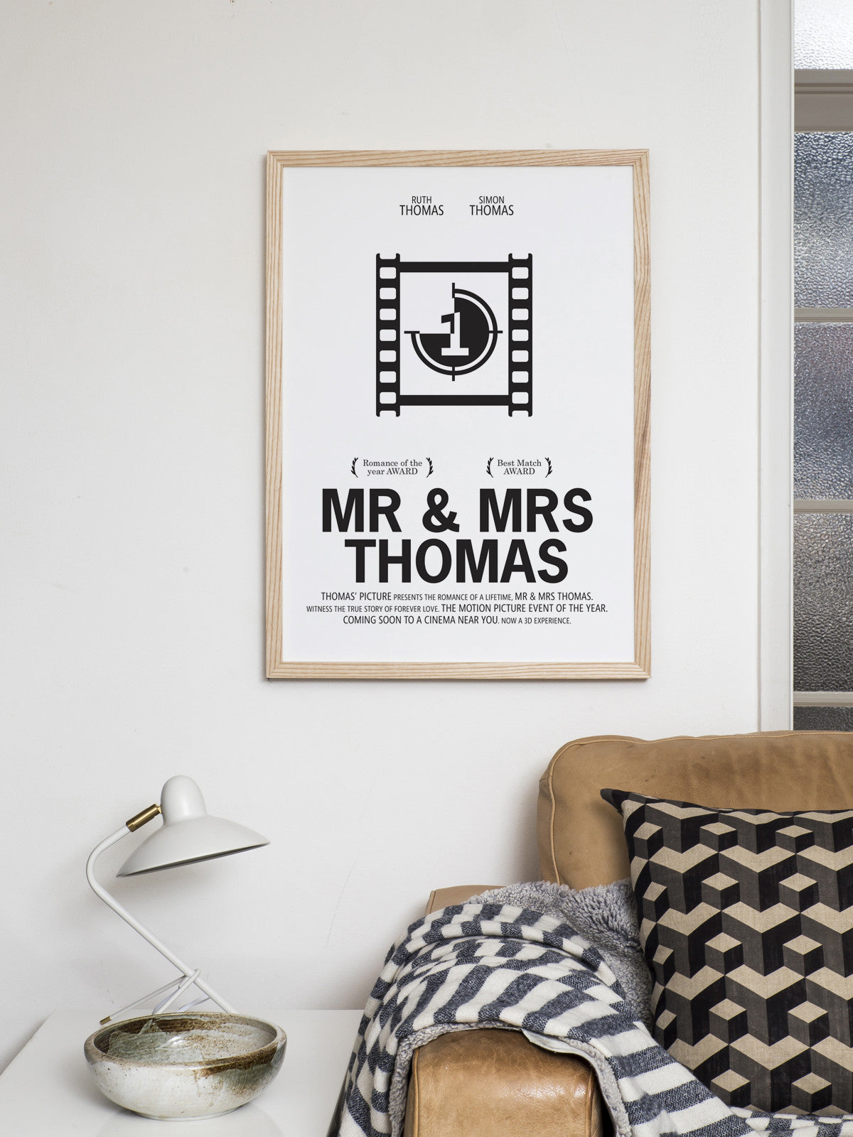 PERSONALISED FILM PRINT 'MR & MRS SMITH'