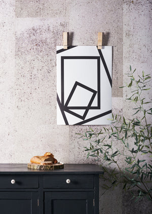 SQUARED PRINT, A BOLD BLACK AND WHITE MONOCHROME POSTER