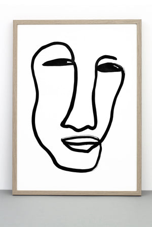 FACE PRINT, AN ILLUSTRATIVE BLACK AND WHITE MONOCHROME POSTER